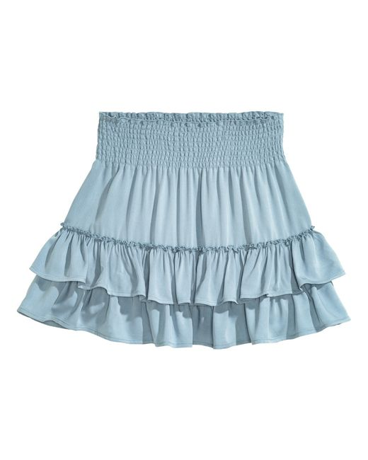 h m tiered skirt in blue lyst