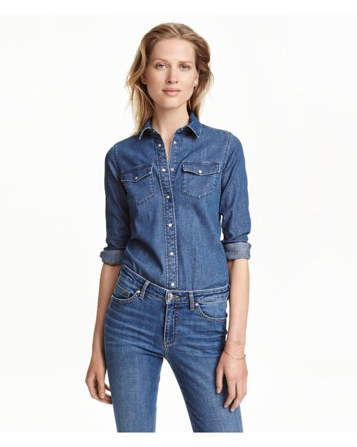H&M | Blue Fitted Denim Shirt | Lyst