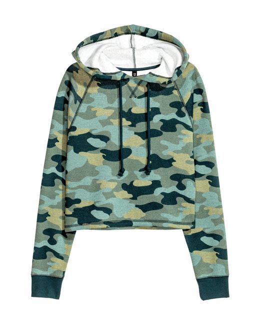 H&M   Green Hooded Top   Lyst