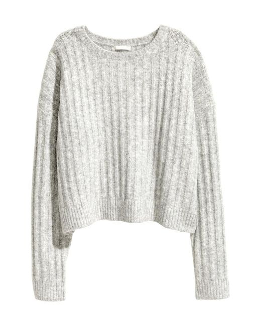 H&M | Gray Ribbed Jumper | Lyst