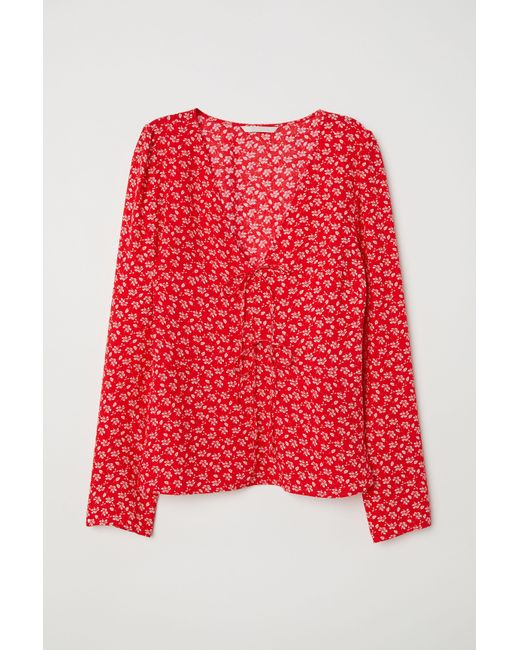 Lyst H M V Neck Blouse In Red