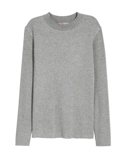 H&M | Gray + Ribbed Jumper | Lyst