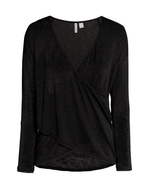 H&M | Black Wrapover Jumper | Lyst