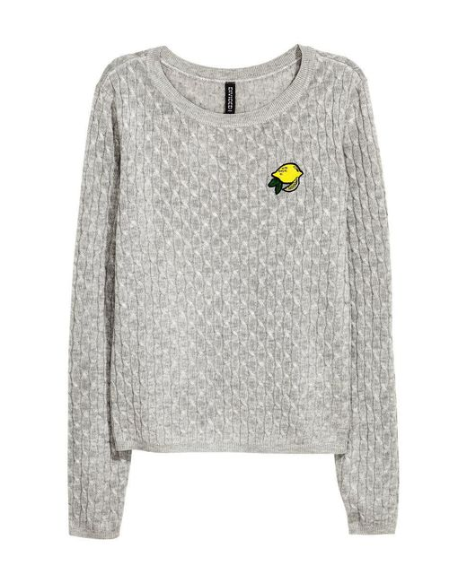 H&M   Gray Cable-knit Jumper   Lyst