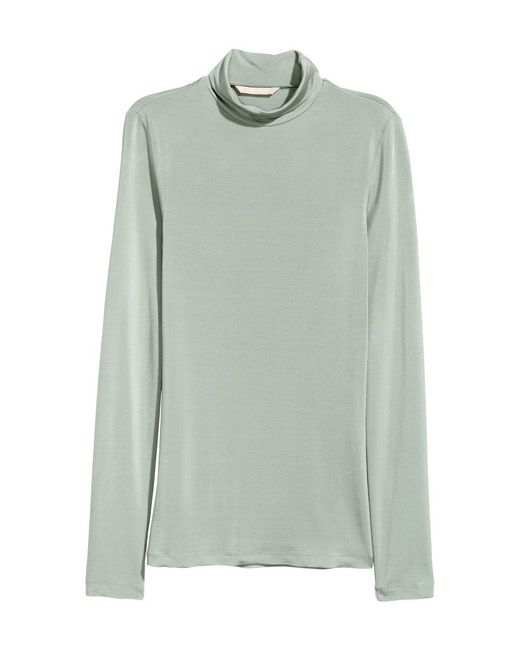 H&M | Green Polo-neck Top | Lyst