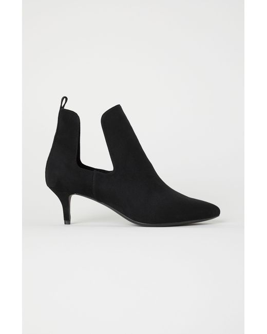 007a11f5214a H M - Black Open-sided Ankle Boots - Lyst ...