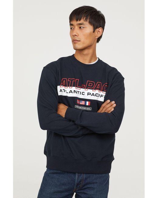 Lyst H M Sweatshirt With Motif In Blue For Men