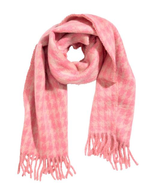 H&M - Pink Jacquard-weave Scarf - Lyst