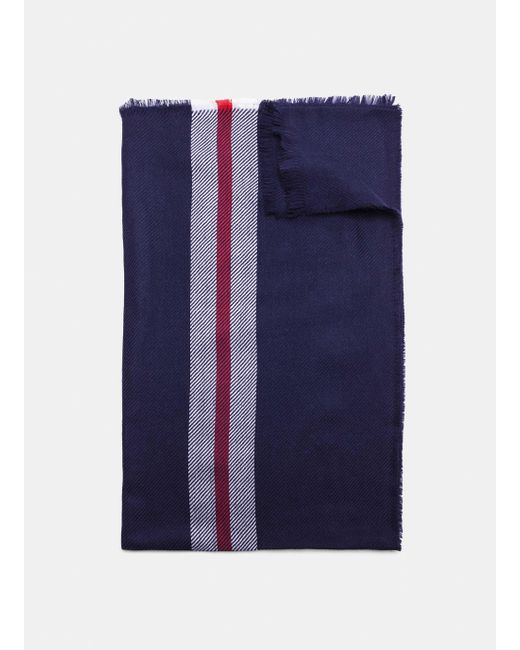 Hackett - Blue Accent Stripe Merino Wool Scarf for Men - Lyst