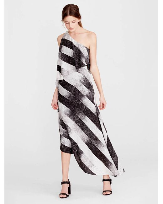 Halston Heritage | White One Shoulder Printed Dress | Lyst