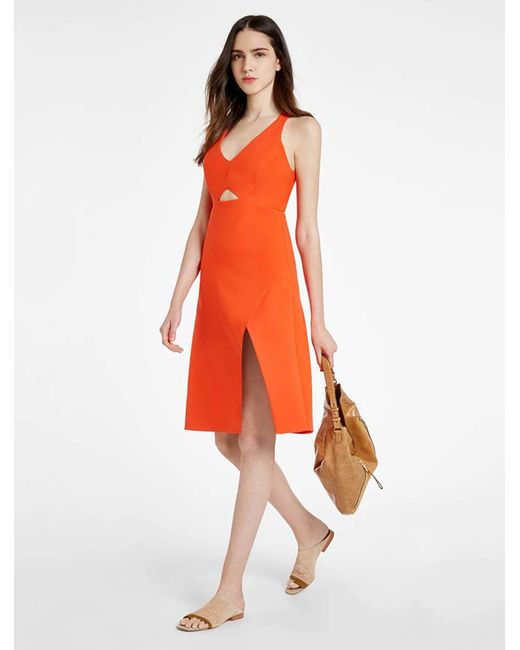 Halston Heritage | Orange Structured Dress With Front Cut Out | Lyst