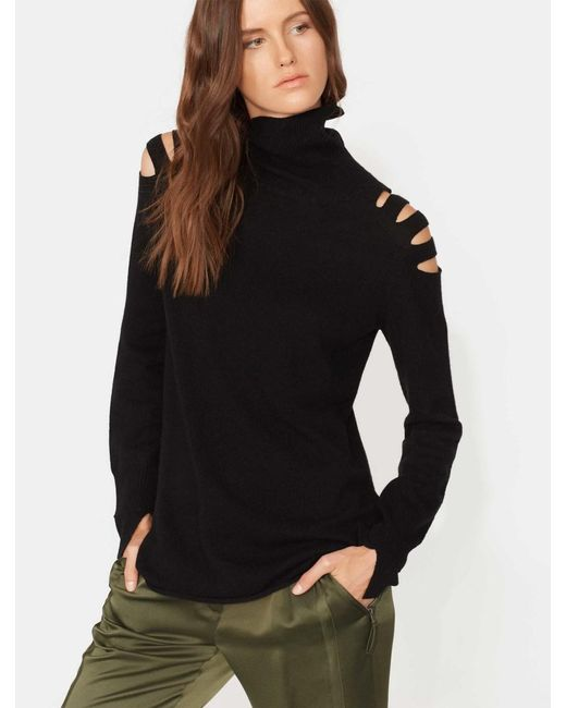 Halston Heritage - Black Turtleneck Sweater With Cut Outs - Lyst