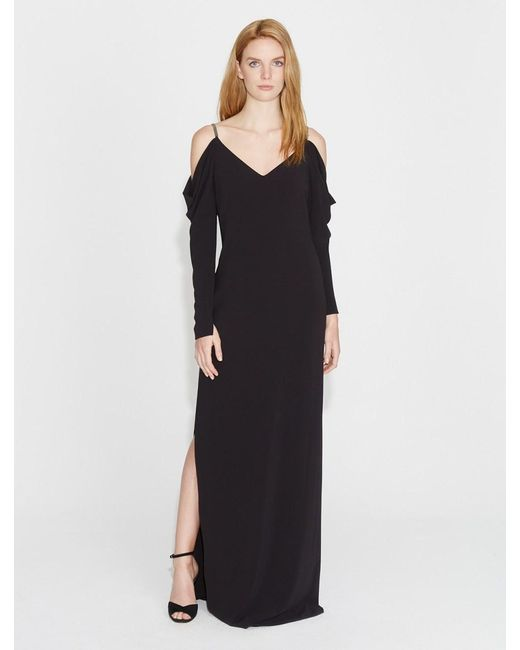724a67cc1b30 Halston Heritage - Black Cold Shoulder Draped Sleeve Crepe Gown - Lyst