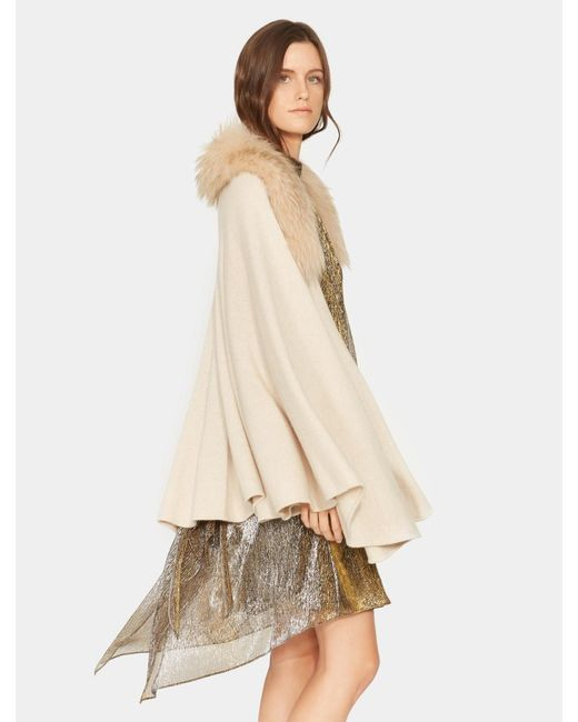 Halston Heritage - Natural Cape Sweater With Fur Collar - Lyst
