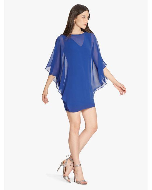 Halston Heritage | Blue Chiffon Overlay Ponte Dress | Lyst