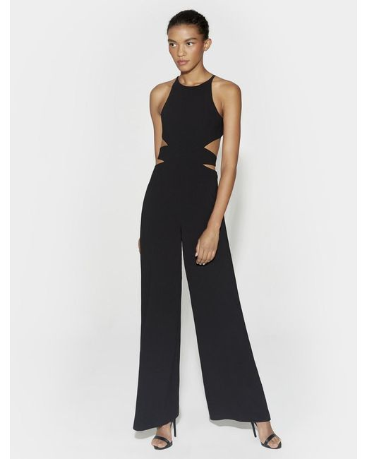 8606c1a7da72 Halston Heritage - Black Cut Out Wide Leg Jumpsuit - Lyst