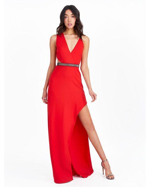 Halston Heritage - Red Asymmetric Crepe Gown With Chain Embellishment - Lyst