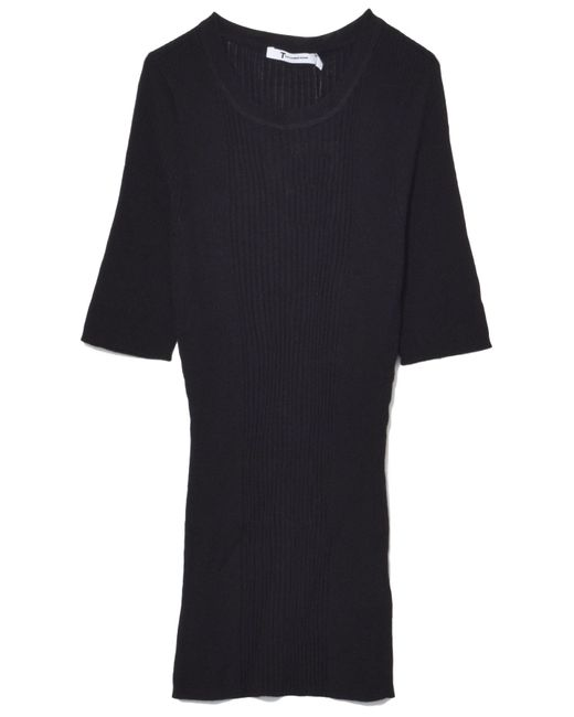 T By Alexander Wang - Wash And Go Rib Short Sleeve Tee In Black - Lyst