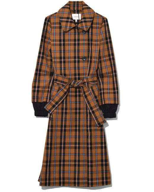 Dorothee Schumacher - Brown Playful Check Trench Coat In Golden Dust - Lyst