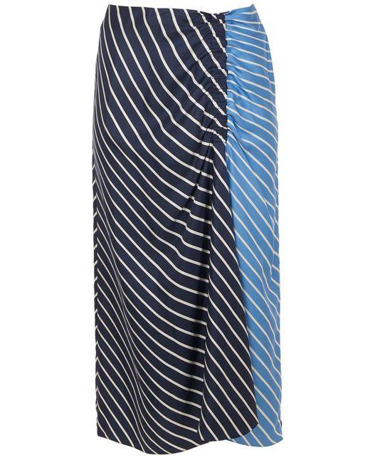 Tibi - Blue Delphina Stripe Shirred Skirt - Lyst
