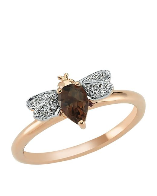 Bee Goddess - Brown Rose Gold Diamond And Smoky Topaz Queen Bee Ring - Lyst