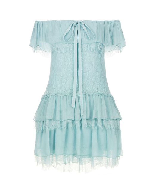 Alice + Olivia   Blue Flora Cold-shoulder Dress   Lyst