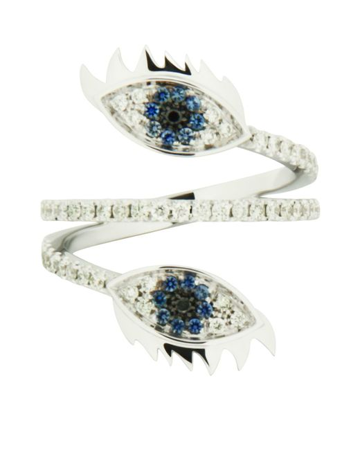 Delfina Delettrez | Blue Marry Me Double Eye White Gold Ring | Lyst