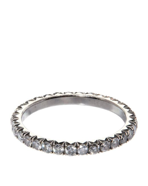 Susan Foster | Metallic White Gold Diamond Stacking Ring | Lyst