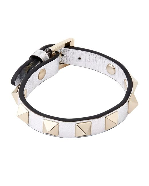 Valentino | Metallic Leather Rockstud Bracelet | Lyst