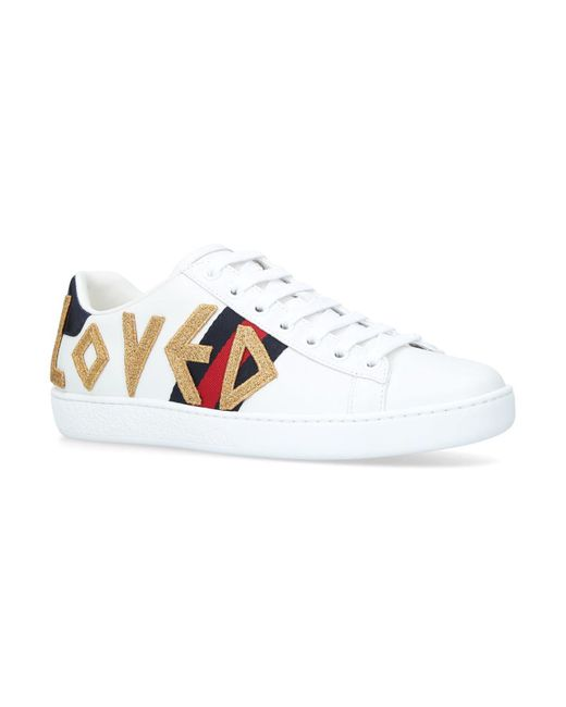 Gucci - White Ace Embroidered Sneakers - Lyst