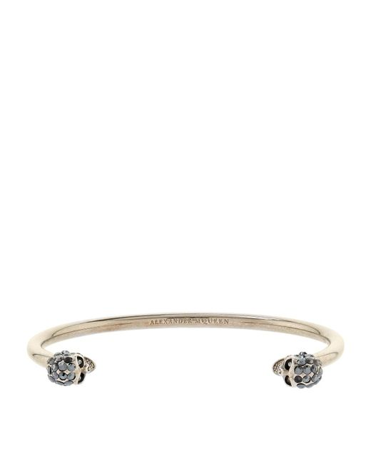 Alexander McQueen | Metallic Twin Skull Bracelet | Lyst