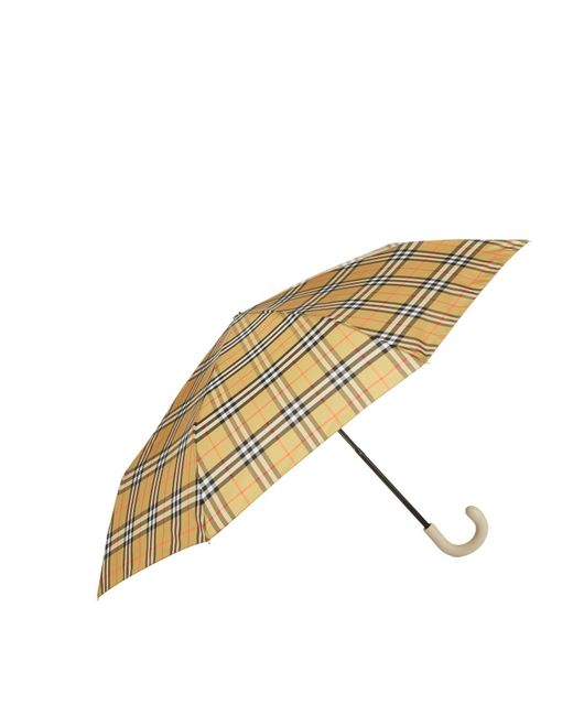 Burberry - Gray Leather Handle Umbrella - Lyst