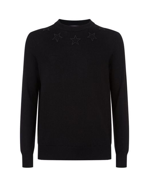Givenchy - Black Embroidered Star Sweater for Men - Lyst