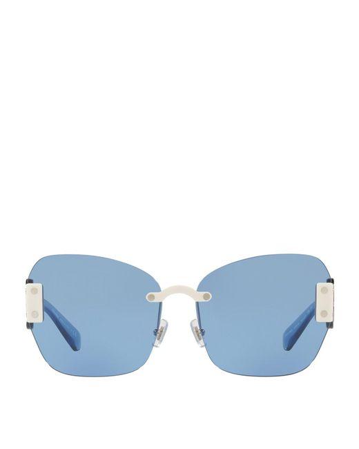 Miu Miu   White Oversized Cat Eye Sunglasses   Lyst