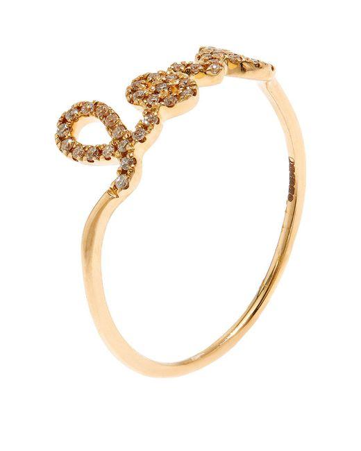 Sydney Evan - White Love Script Diamond Ring - Lyst