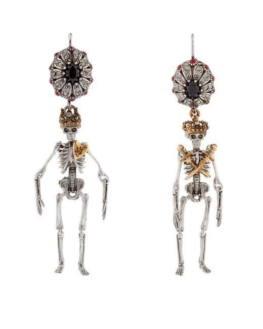 Alexander McQueen | Metallic King And Queen Skeleton Earrings | Lyst
