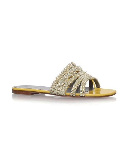 Gina | Yellow Loren Jewelled Sandals | Lyst