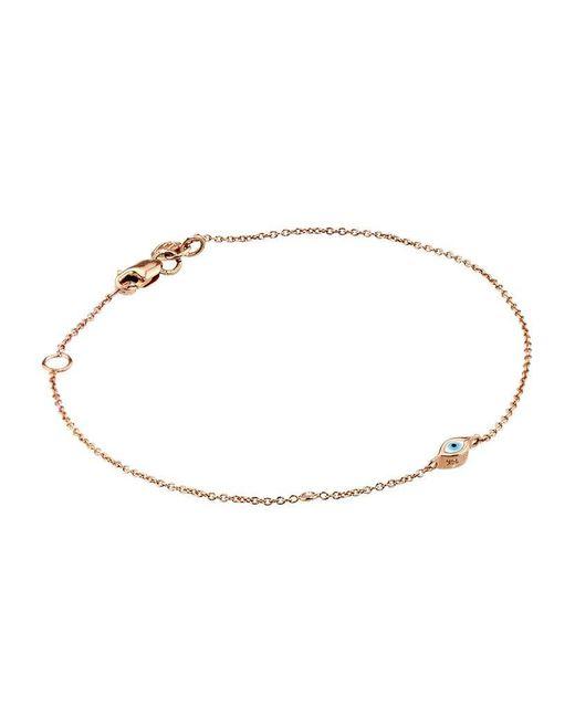 Sydney Evan | Metallic Rose Gold Mini Enamel Evil Eye Bracelet With Bezel-set Diamond | Lyst