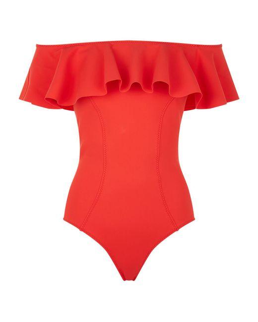 Lisa Marie Fernandez - Red Mira Bandeau Ruffle Swimsuit - Lyst