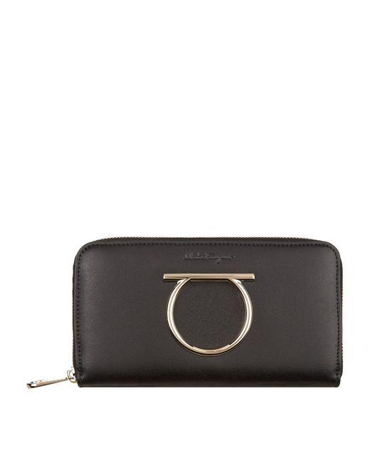 Ferragamo - Black Gancini Zip Around Wallet - Lyst