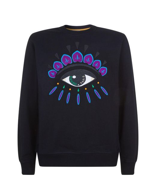 cf8fa0bc0 Lyst - KENZO Embroidered Eye Crew Sweat in Black for Men - Save 30%