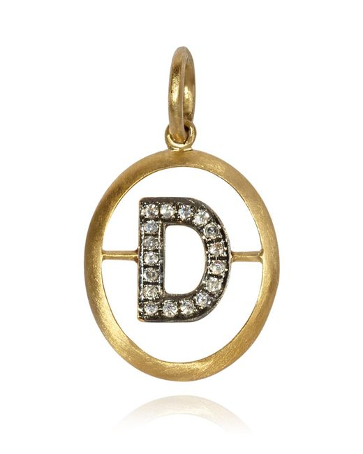Annoushka - Metallic Yellow Gold And Diamond Initial D Pendant - Lyst