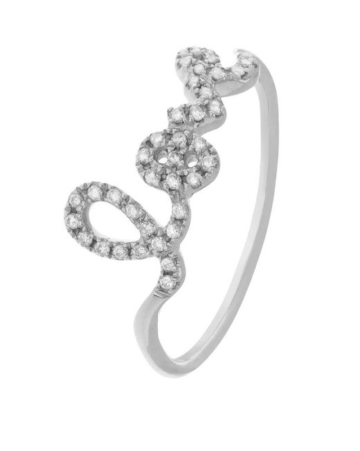 Sydney Evan | Metallic Love Script Diamond Ring | Lyst