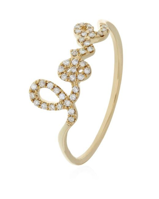 Sydney Evan | Metallic Love Script Diamond Ring | Lyst