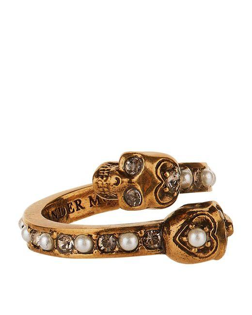 Alexander McQueen - Metallic Twin Skull Ring - Lyst