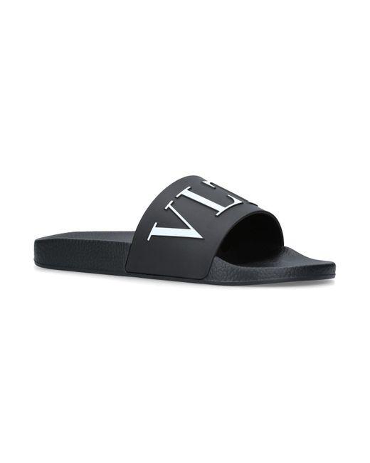 Valentino - Black Vltn Slides for Men - Lyst
