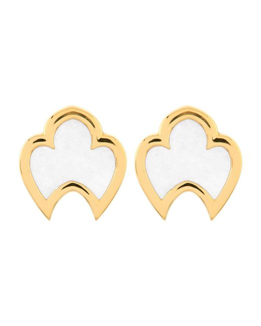 Chateau Euphorie - White Clara Mother Of Pearl Stud Earrings - Lyst