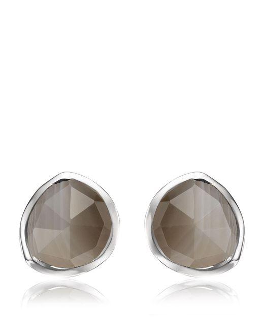 Monica Vinader - Metallic Siren Grey Agate Stud Earrings - Lyst