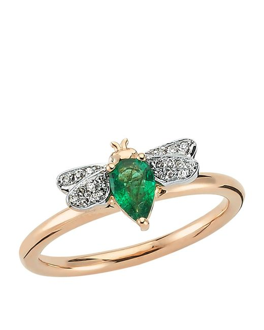 Bee Goddess - White Rose Gold Diamond And Emerald Queen Bee Ring - Lyst