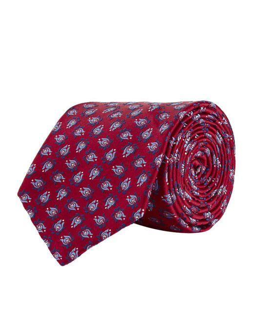 Turnbull & Asser - Red Flower Pattern Silk Tie for Men - Lyst